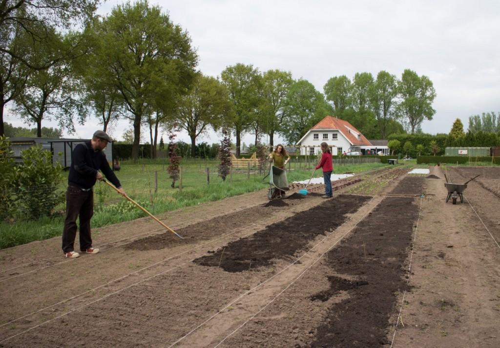 Tuinderij De Voedselketen. Linder van den Heerik aan het schoffelen.